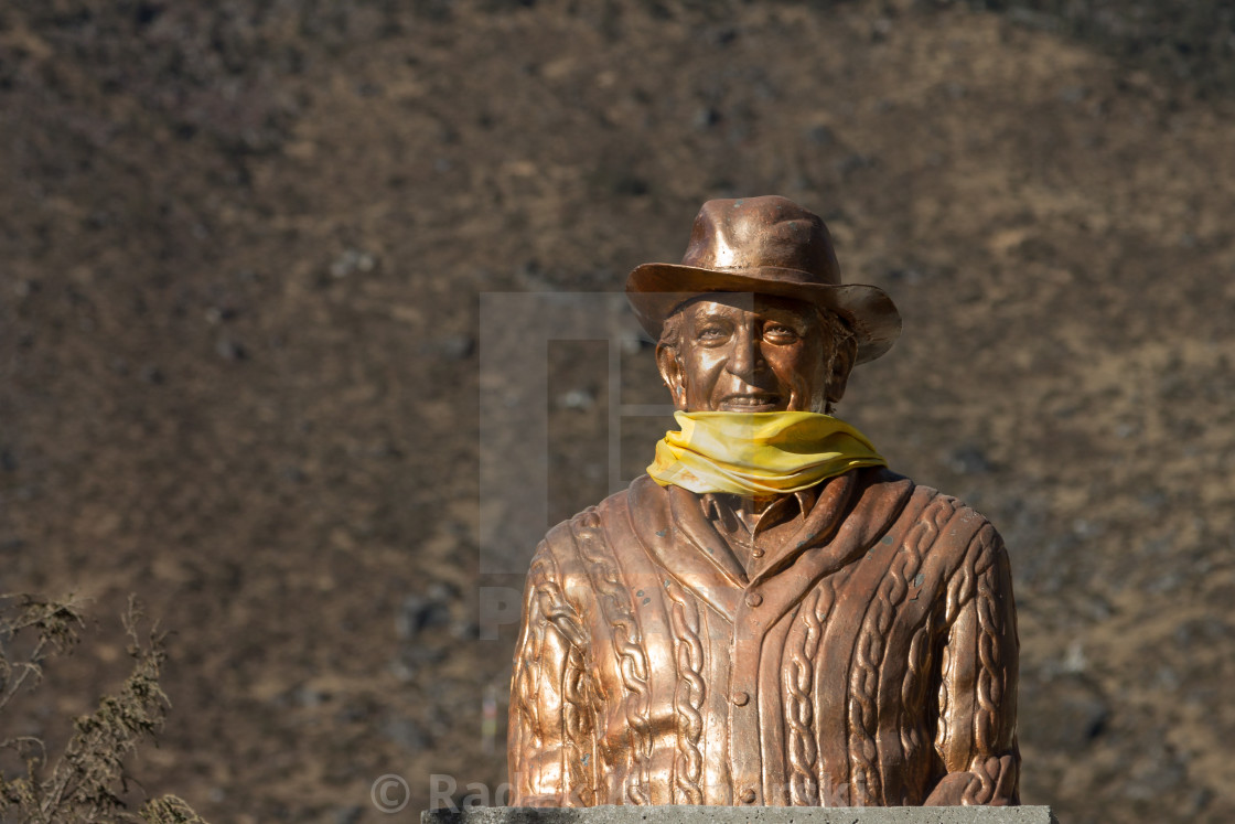 """Statue of Sir Edmund Hillary in front of the school in Khumjung"" stock image"
