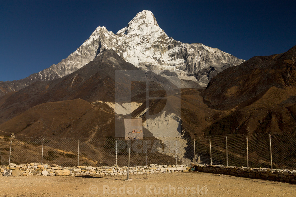 """Extreme, high altitude backboard with Ama Dablam as the backdrop"" stock image"