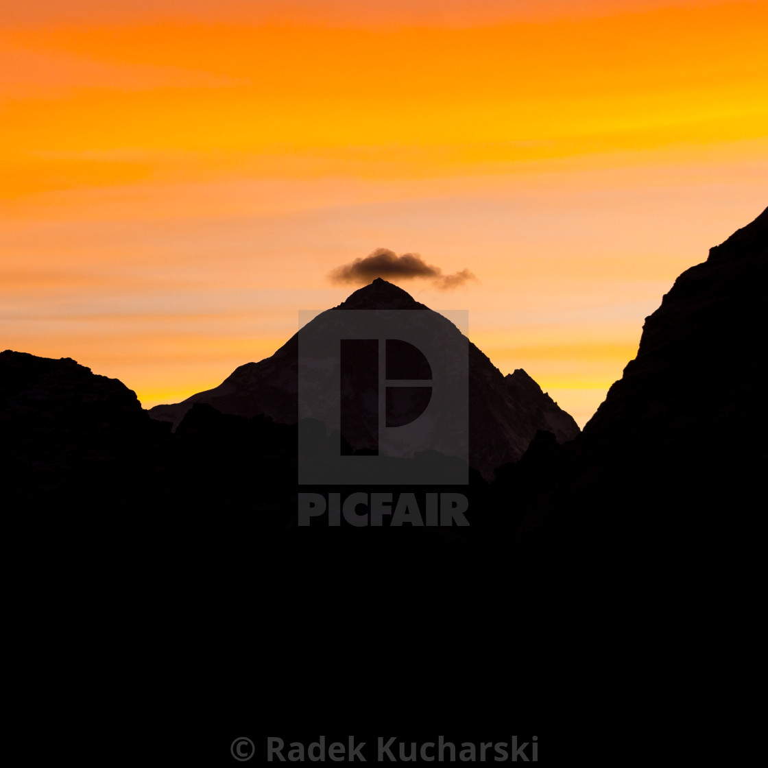 """Makalu seen from Gokyo Ri at dawn"" stock image"