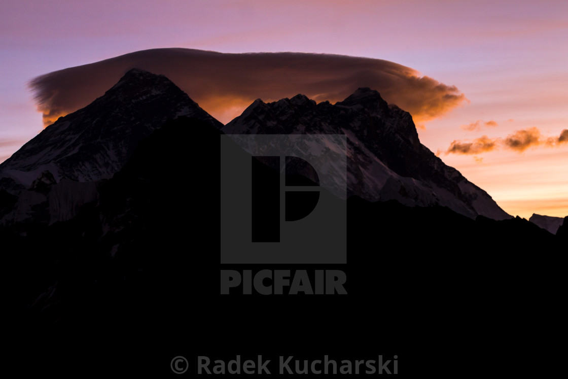 """Daybreak at Gokyo Ri: Everest, Nuptse, Lhotse"" stock image"