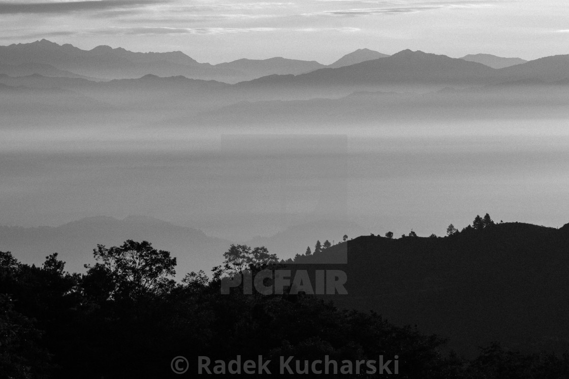 """Looking East from Nagarkot above the Kathmandu Valley"" stock image"