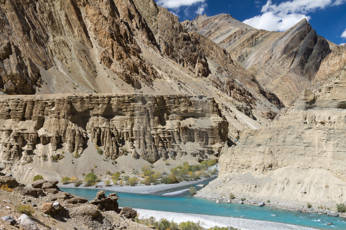 """Confluence of Tsarab and Zara rivers in the remote area of Ladakh"" stock image"
