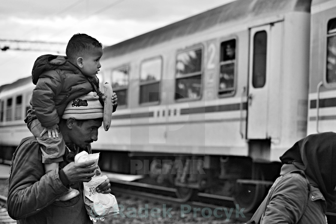 """refugees in Tovarnik (Serbian - Croatina border)"" stock image"