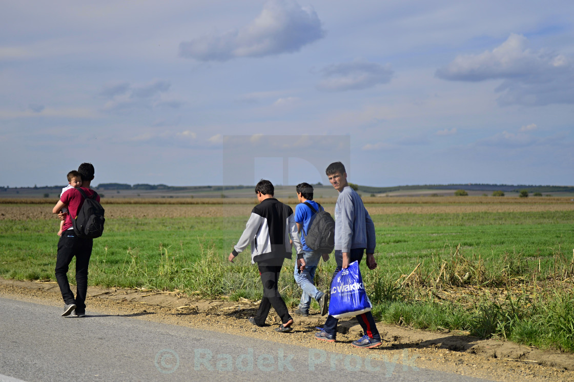 """refugees in Sid (Serbian - Croatina border)"" stock image"