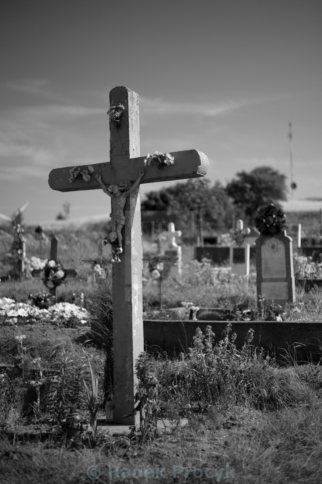 """cross on cemetery"" stock image"
