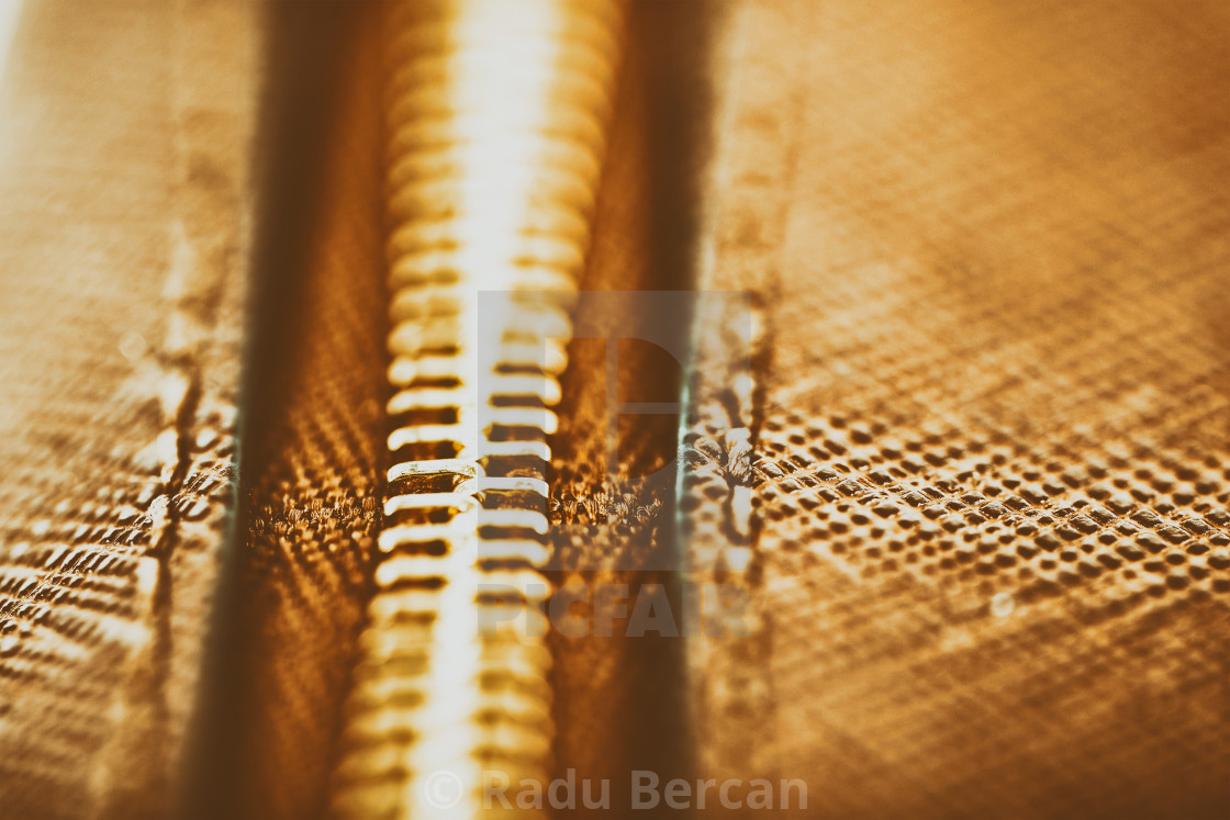 """""""Zipper Closeup On Brown Leather Wallet"""" stock image"""
