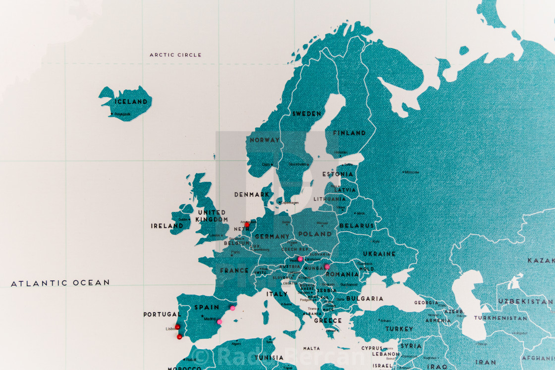Europe countries on world map close up with colorful pins license europe countries on world map close up with colorful pins stock image gumiabroncs Image collections