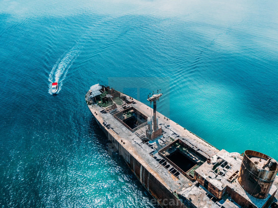 """Aerial Drone View Of Old Shipwreck Ghost Ship Vessel"" stock image"