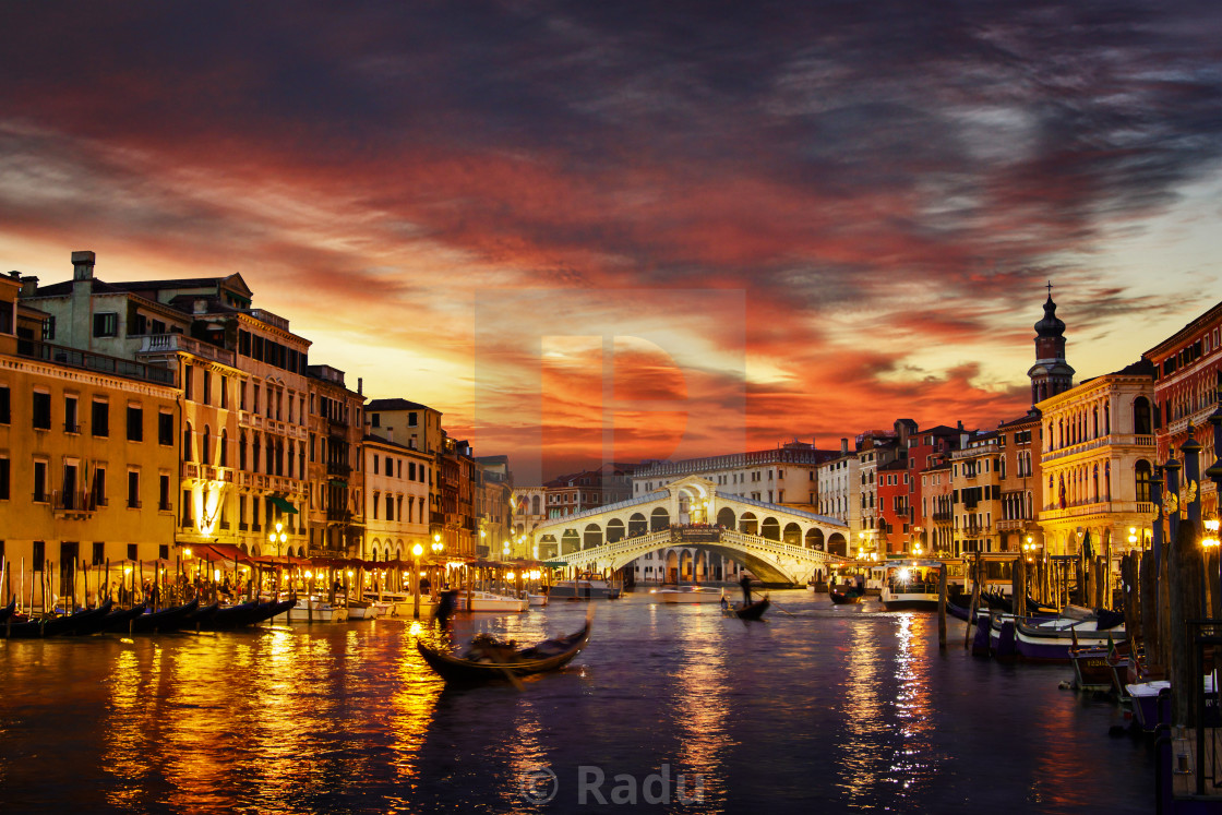 """Venice at sunset"" stock image"