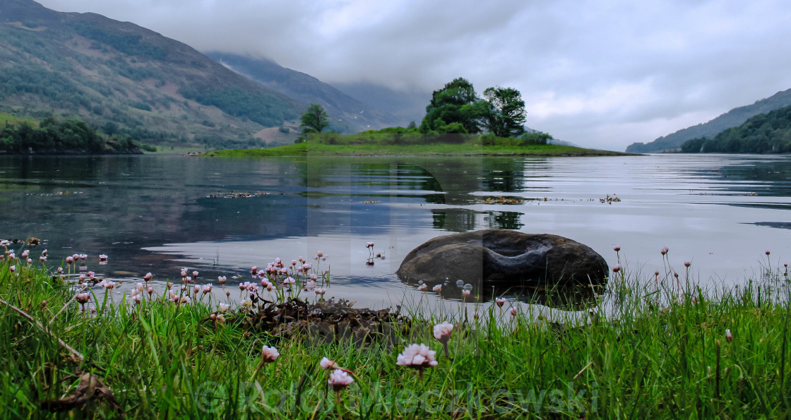 """""""Lake Leven on a cloudy day."""" stock image"""