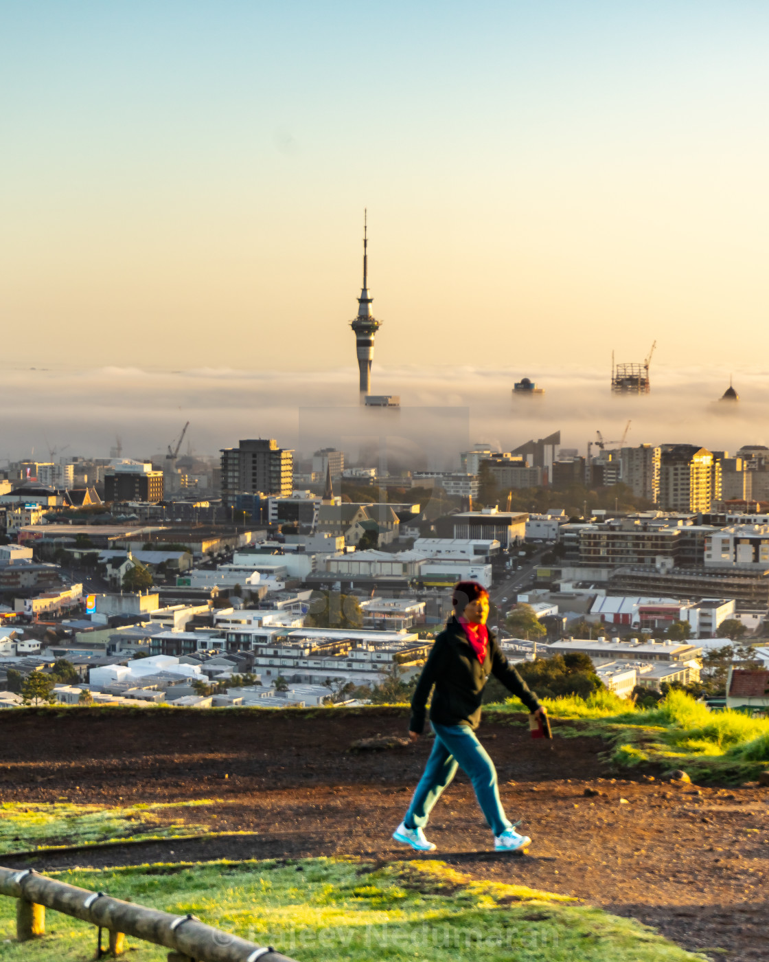 """Walker on Mt. Eden"" stock image"