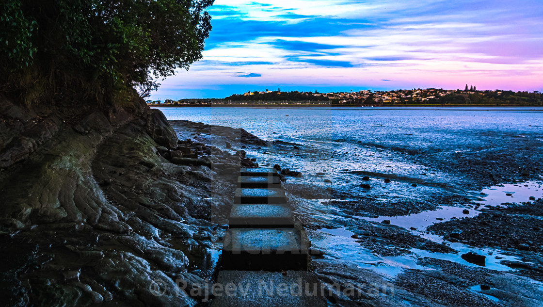 """Colors on the Hobson Bay Walkway"" stock image"