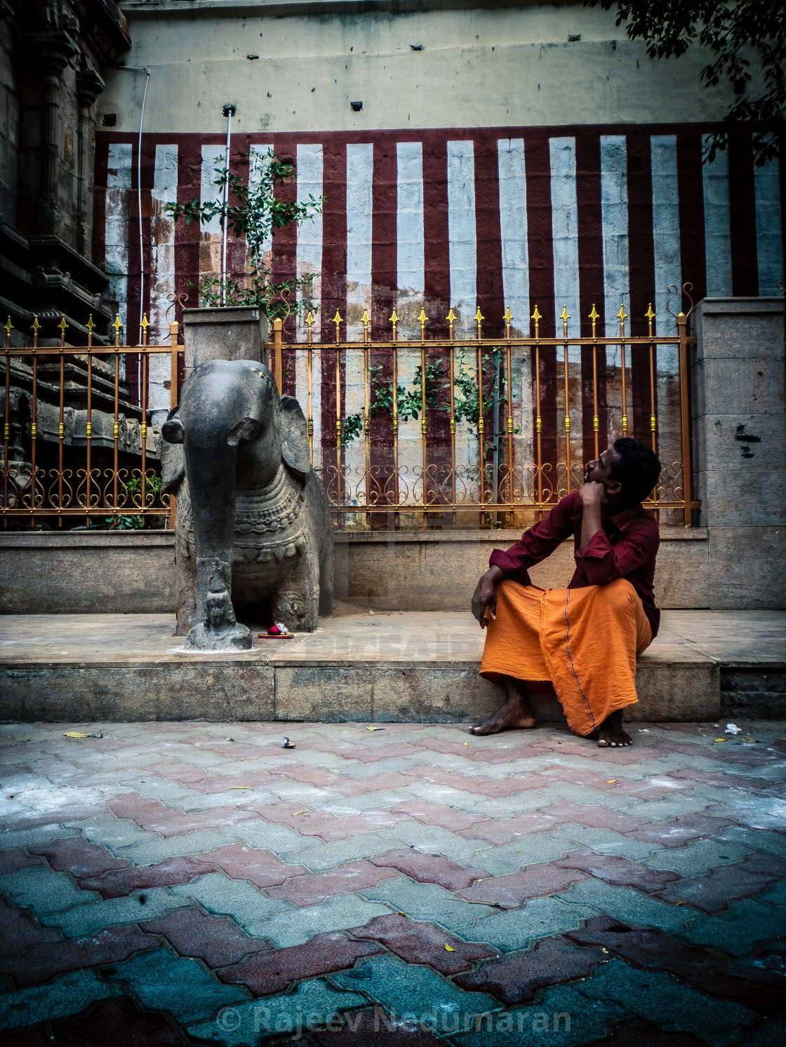 """A scene outside the temple"" stock image"