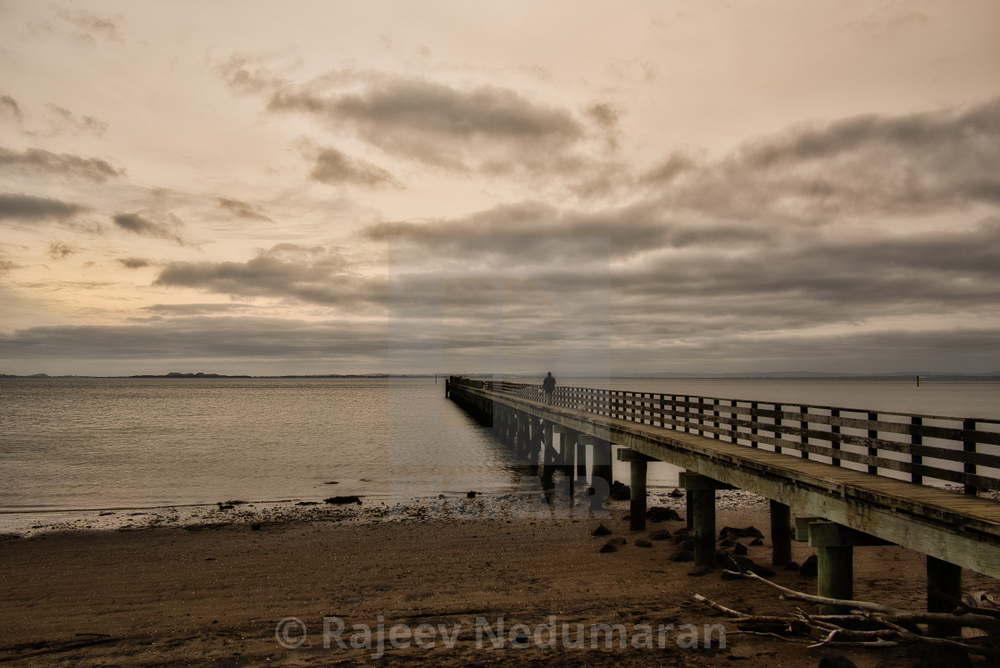 """Early morning at Cornwallis Wharf"" stock image"