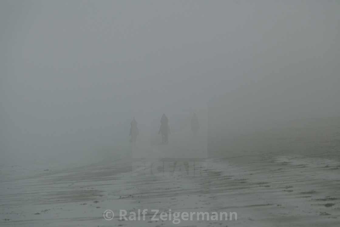 """Riders in the fog"" stock image"