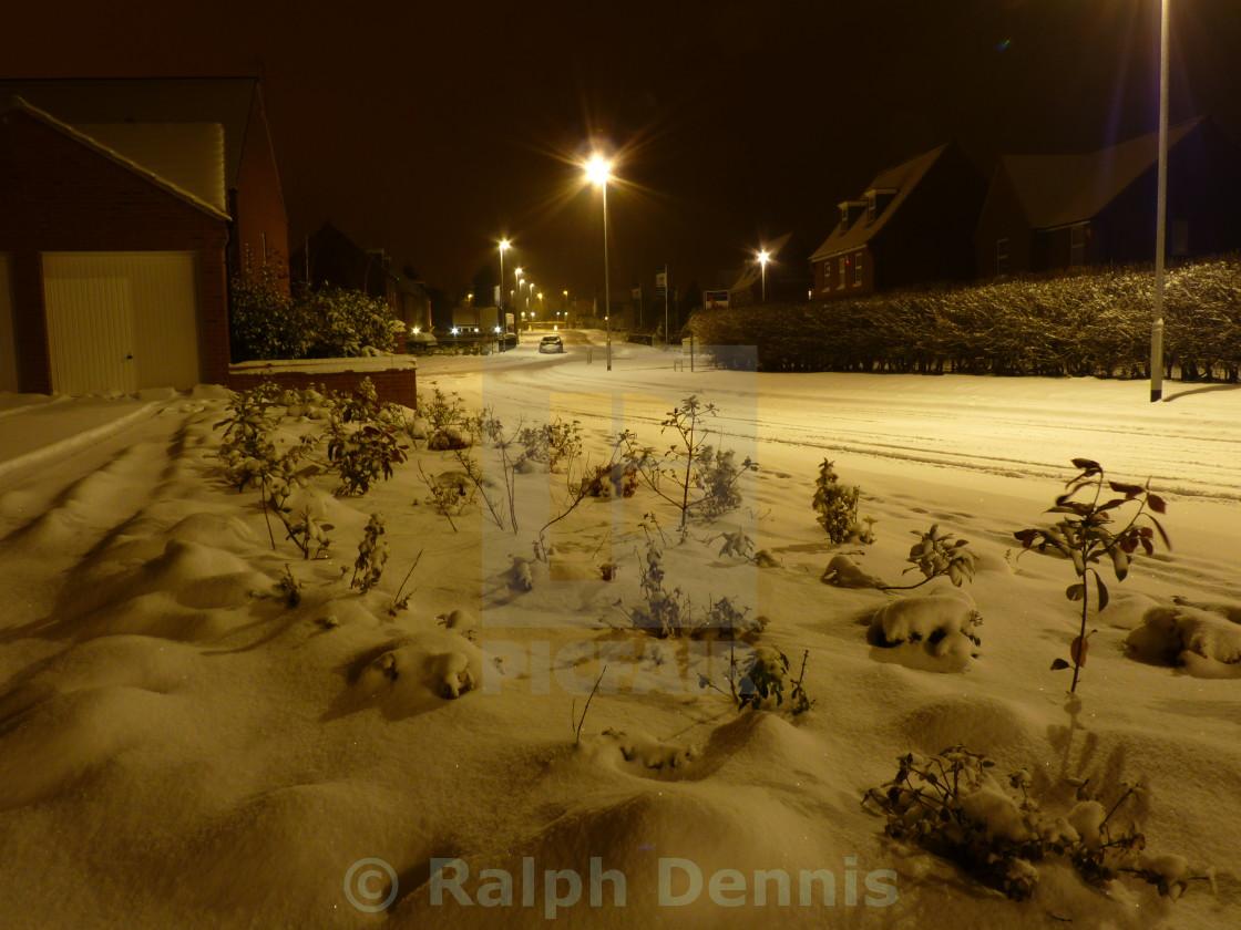 """Snowy street scene"" stock image"