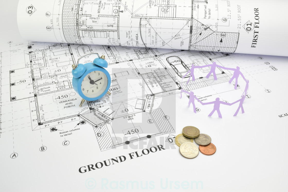Engineering and construction project with money -  Time Money And Manpower Three Factors In Construction Project Stock Image