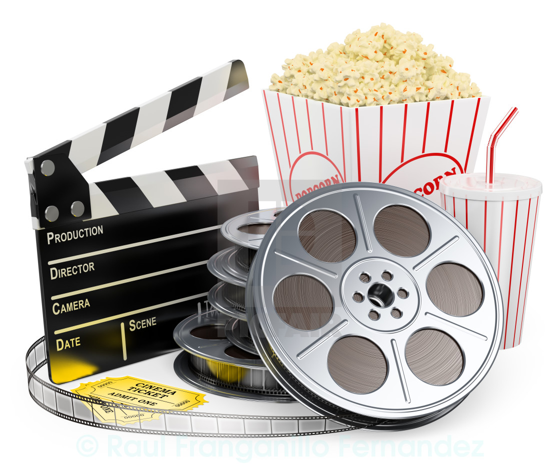 3D white people  Cinema clapper film reel drink and popcorn