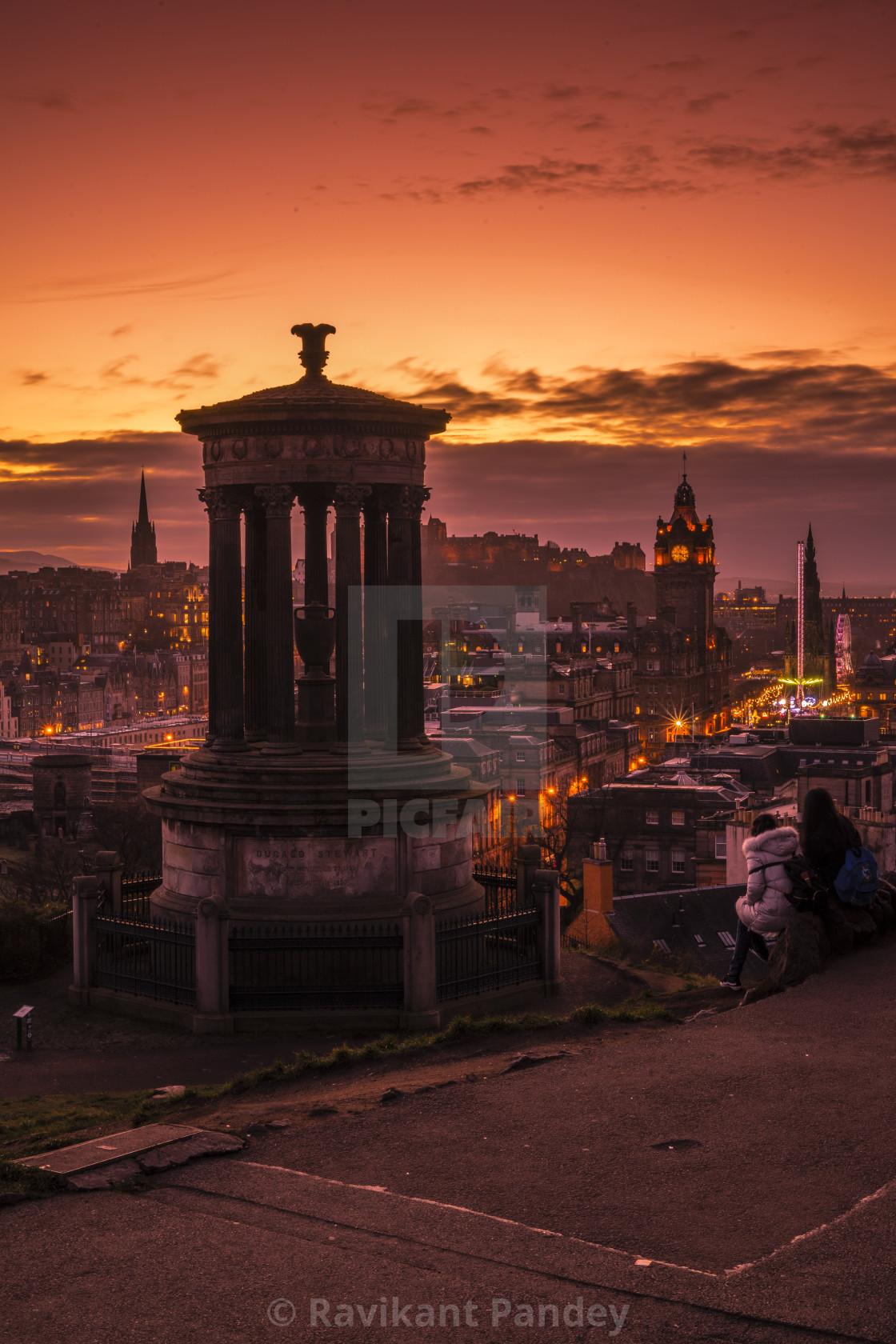 """Amazing sunset view from Calton Hill overlooking city centre, Edinburgh - Scotland"" stock image"