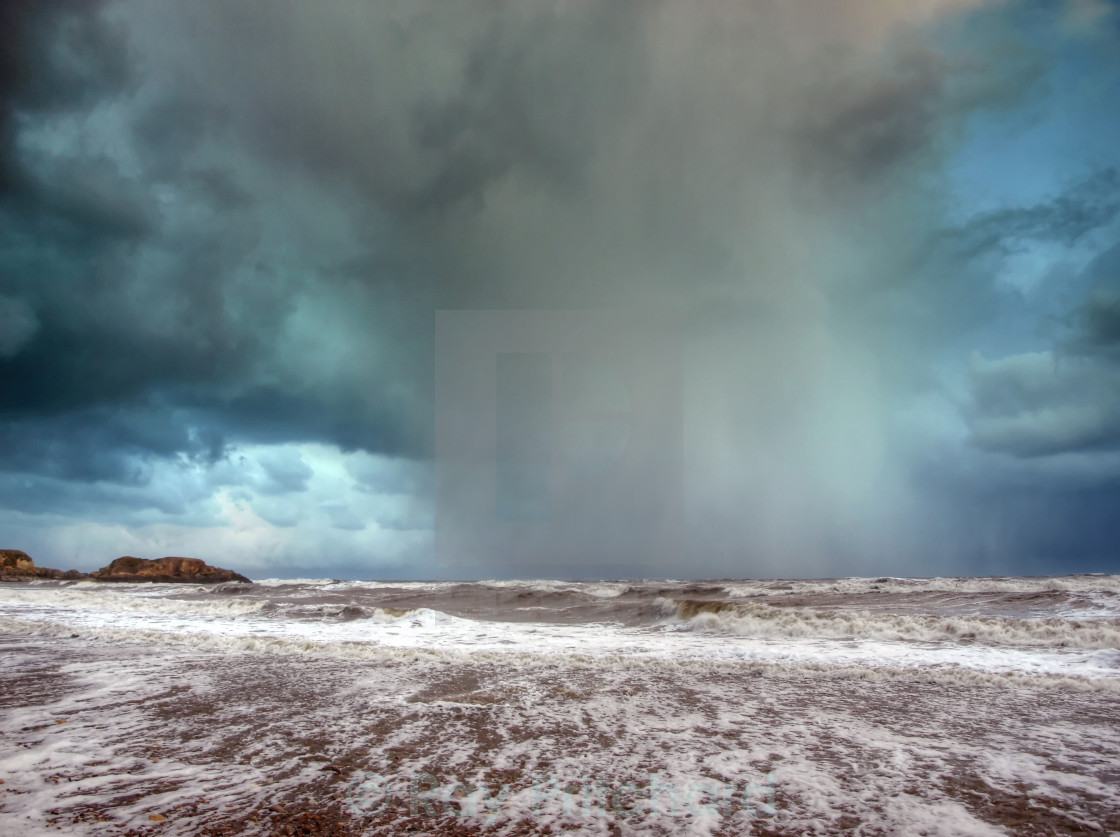 """Snow Storm on the Coast"" stock image"