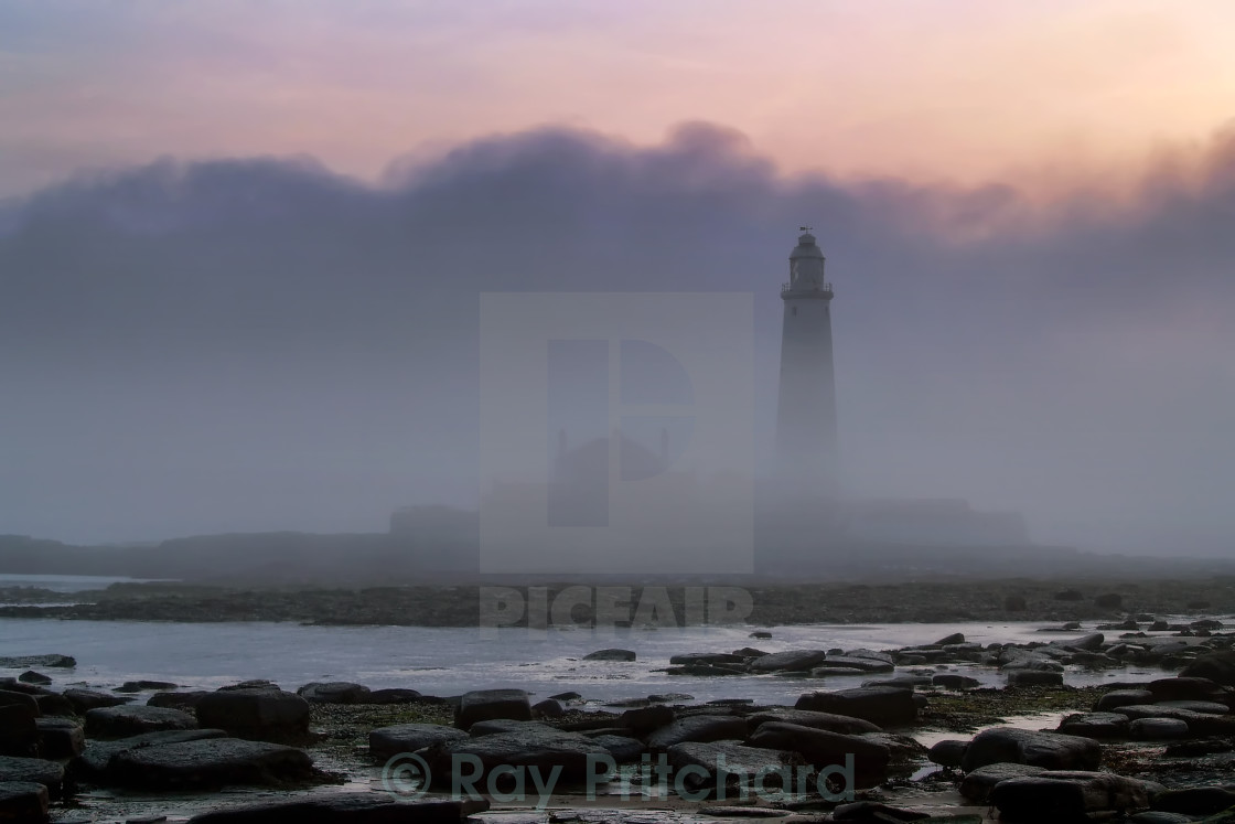 """St Marys in the Fog"" stock image"