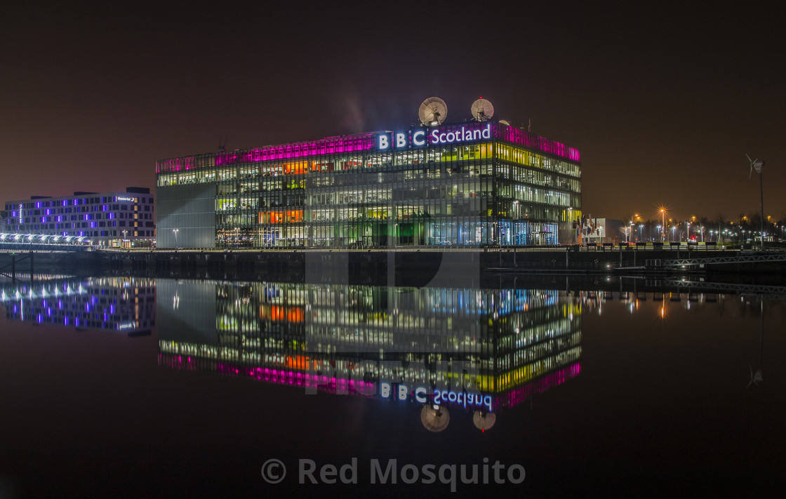 """Glasgow Night on the river Clyde"" stock image"