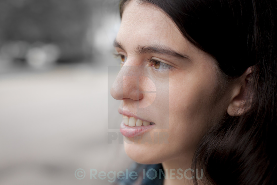 """""""Smiling Young Adult Brunette Woman Portrait"""" stock image"""