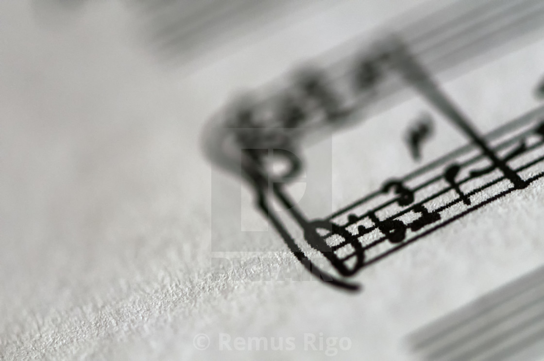 Detail of a music sheet score page  Shallow depth of field