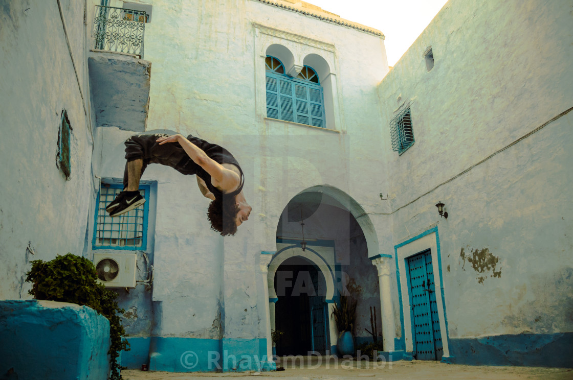 """Taher nagati doing a flip"" stock image"
