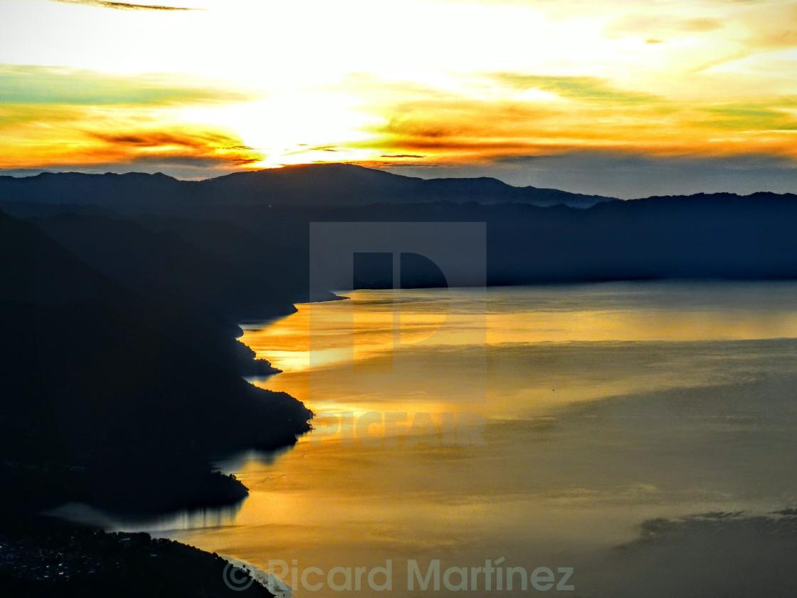 """""""Atitlán lake sunrise, Guatemala."""" stock image"""