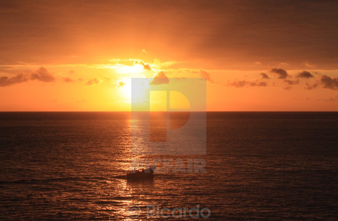 """sunset and boat"" stock image"