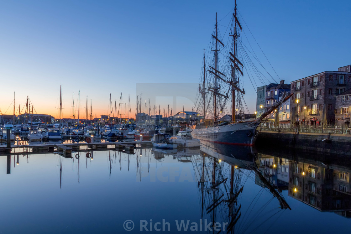 """SV Kaskelot on Plymouth Barbican"" stock image"