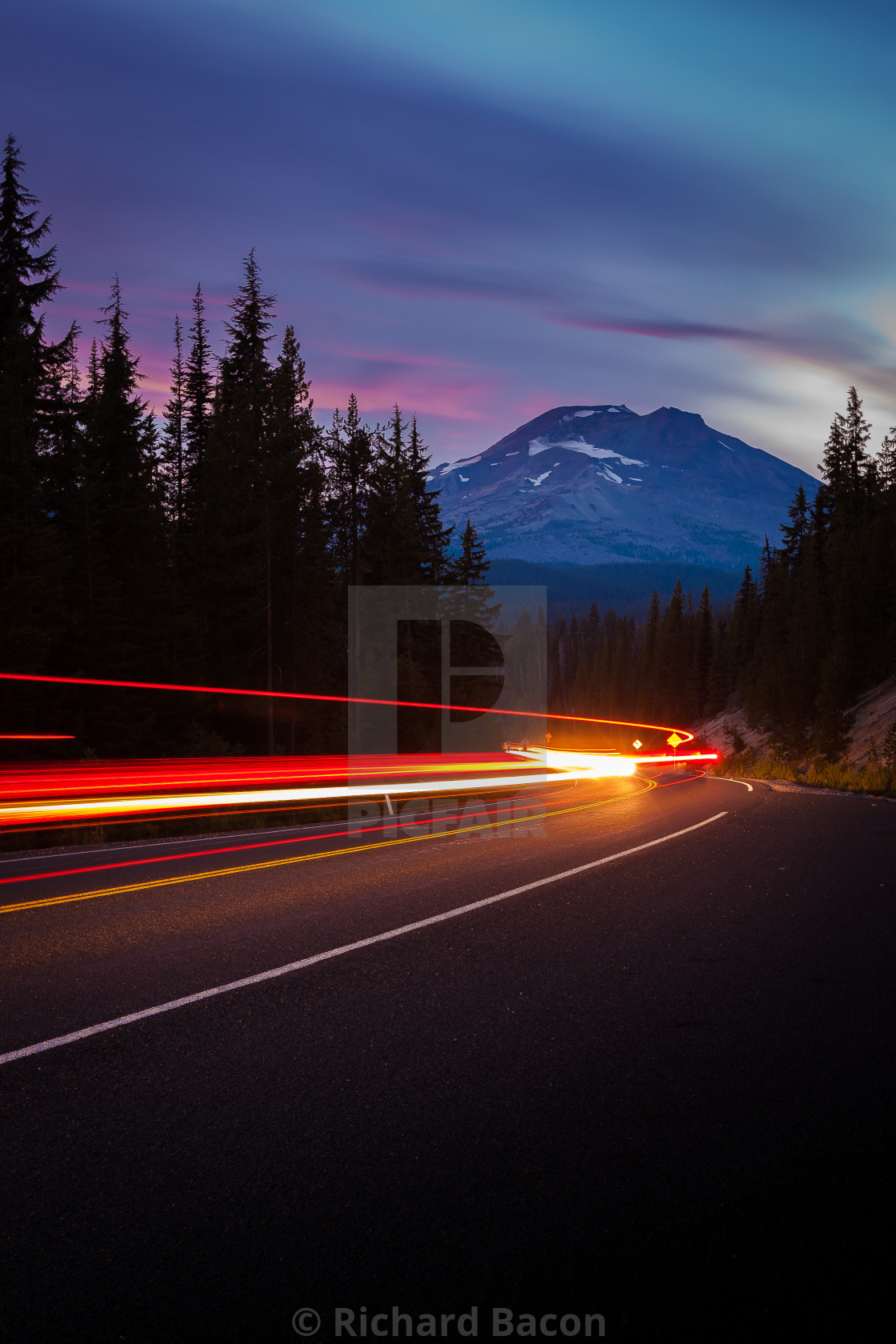 """Mountain Road Car Trails"" stock image"