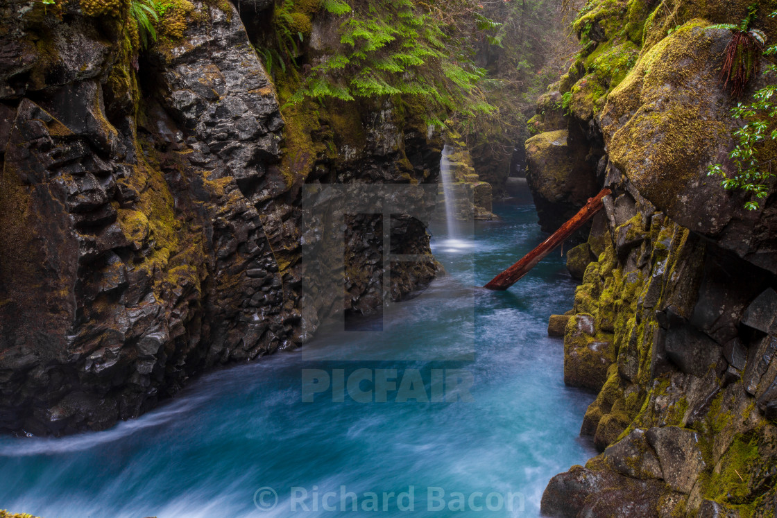 """Blue River in Canyon"" stock image"