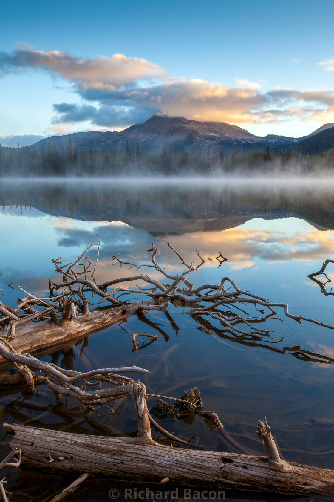 """Misty Morning Lake Reflection"" stock image"