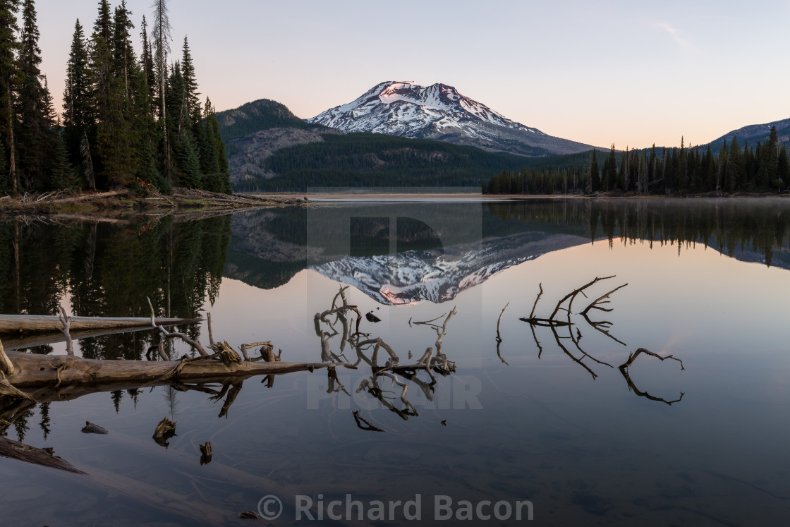 """South Sister Mountain Reflection"" stock image"