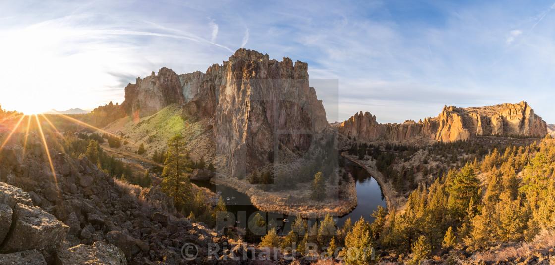 """Smith Rock Sunset Panorama"" stock image"