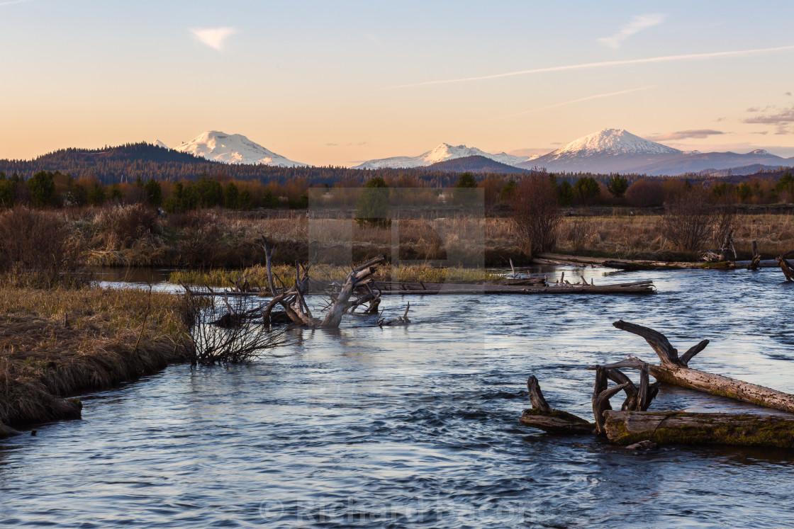 """Central Oregon Mountain Sunset"" stock image"