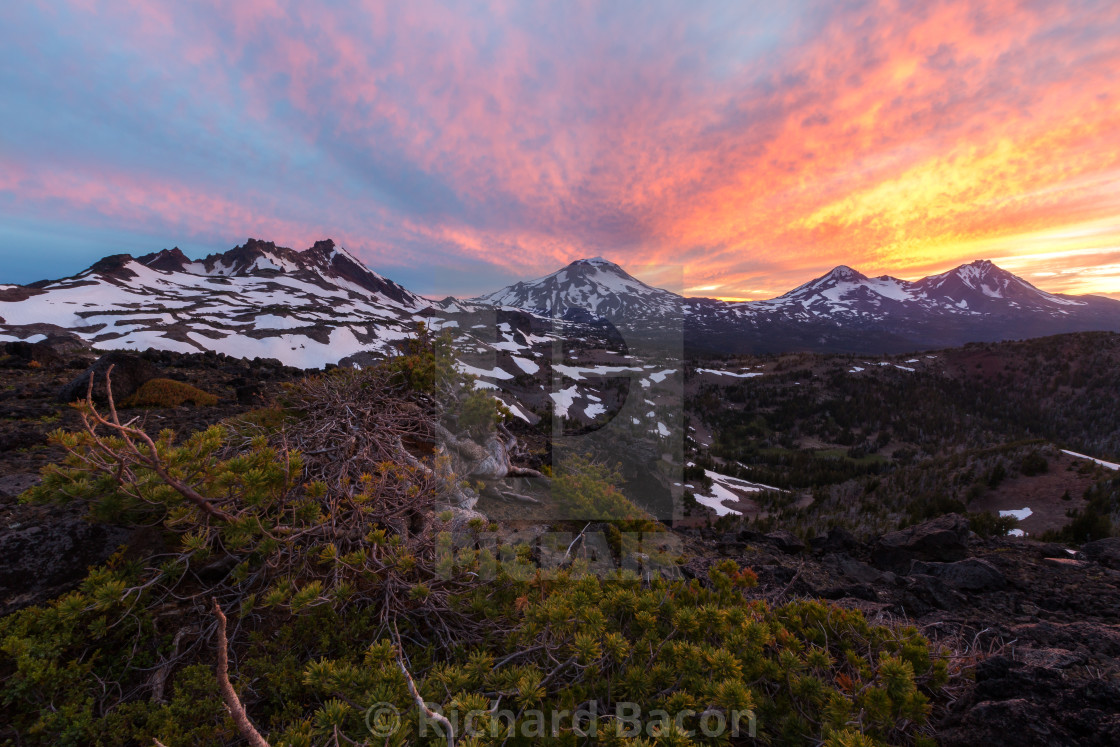 """Three Sisters Wilderness Sunset"" stock image"