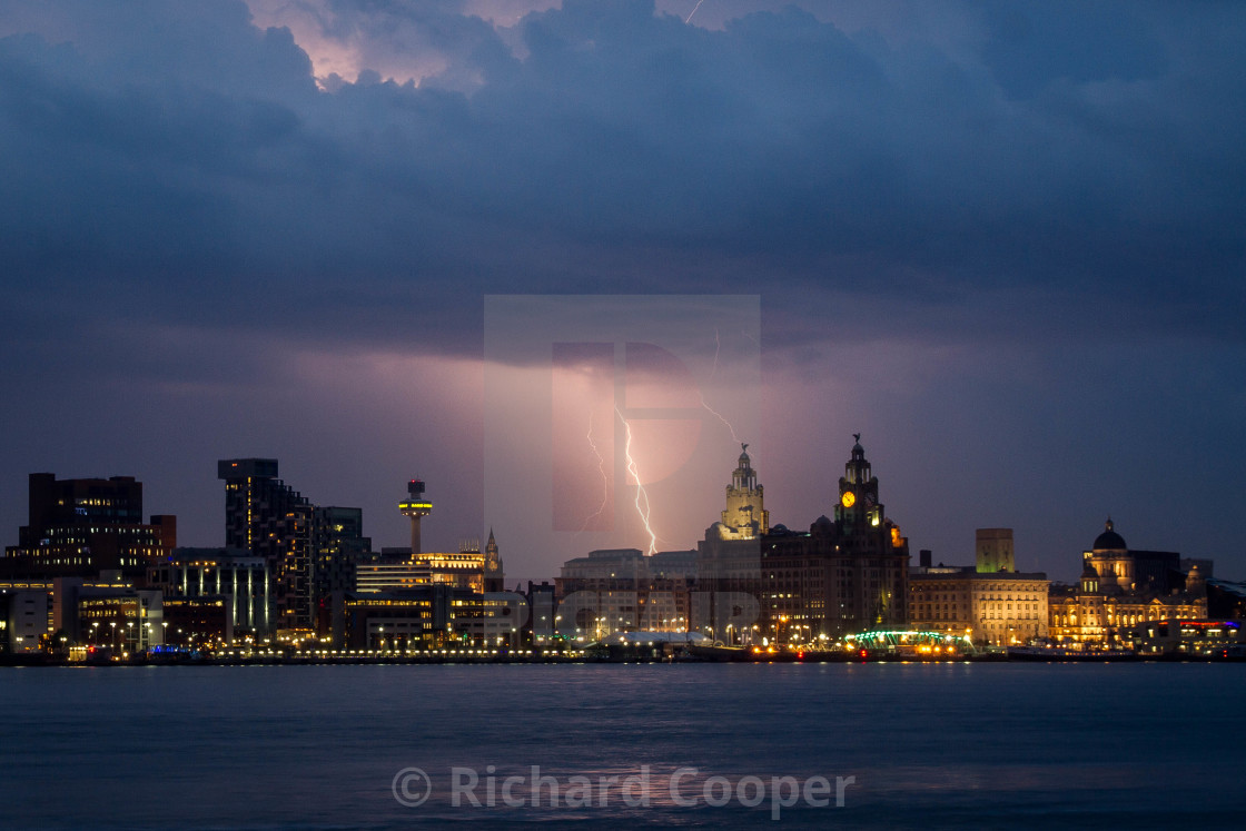 """Lightning over Liverpool"" stock image"