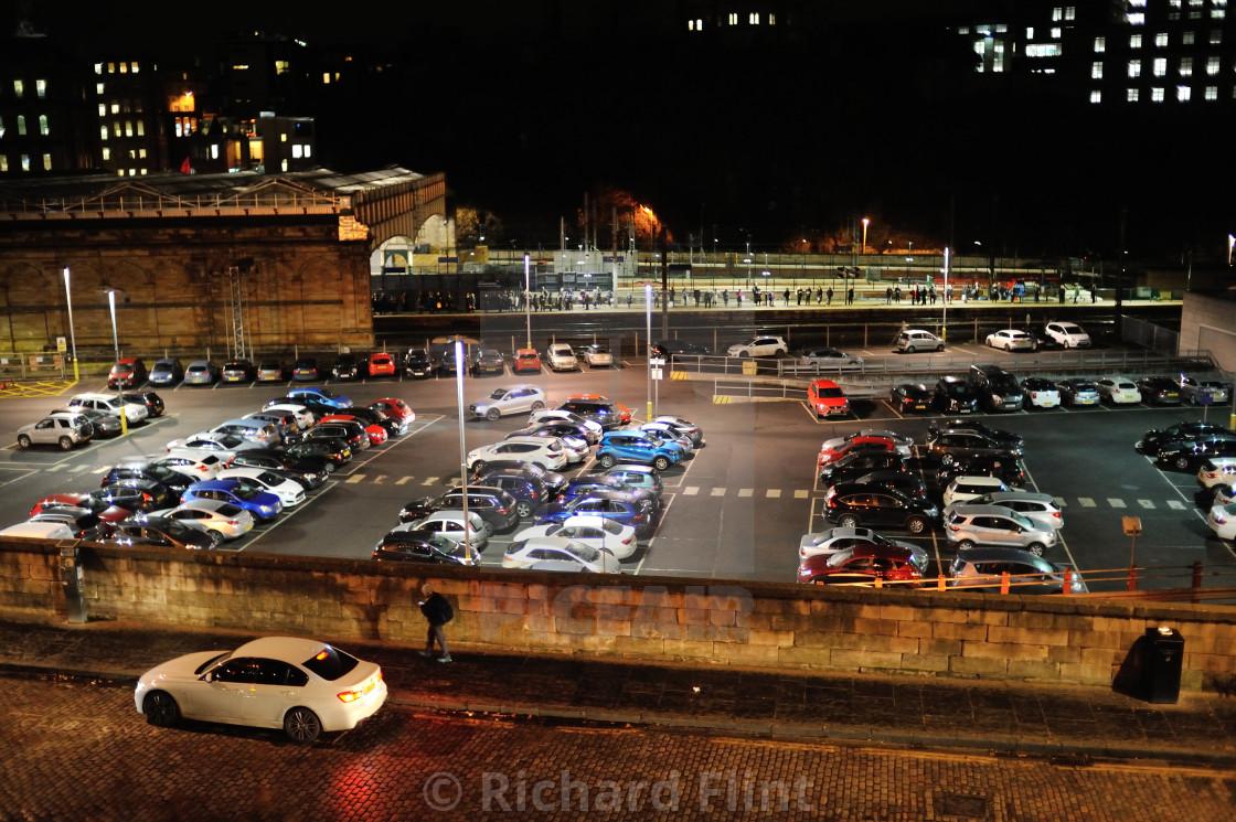 """East Market Street looking over towards Waverley Station, Edinburgh"" stock image"