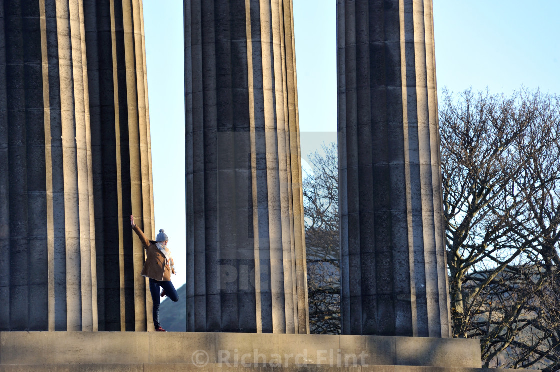 """""""Strike a pose - National Monument of Scotland"""" stock image"""