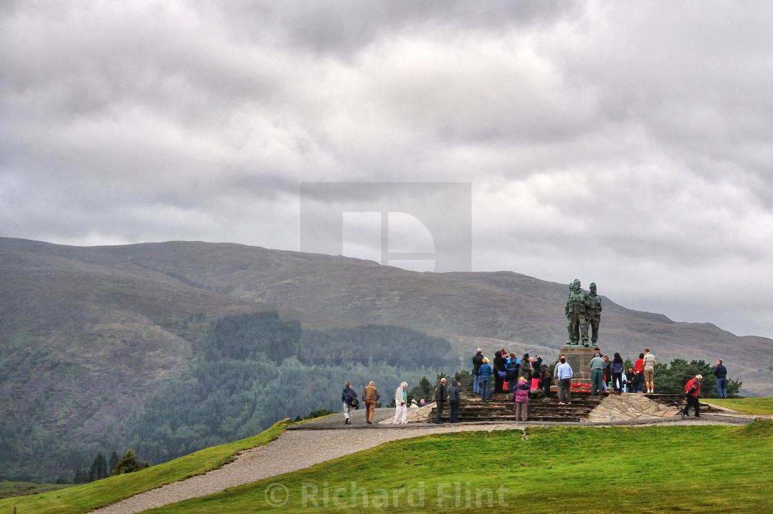 """""""Visitors at the Commando Memorial, Scotland"""" stock image"""