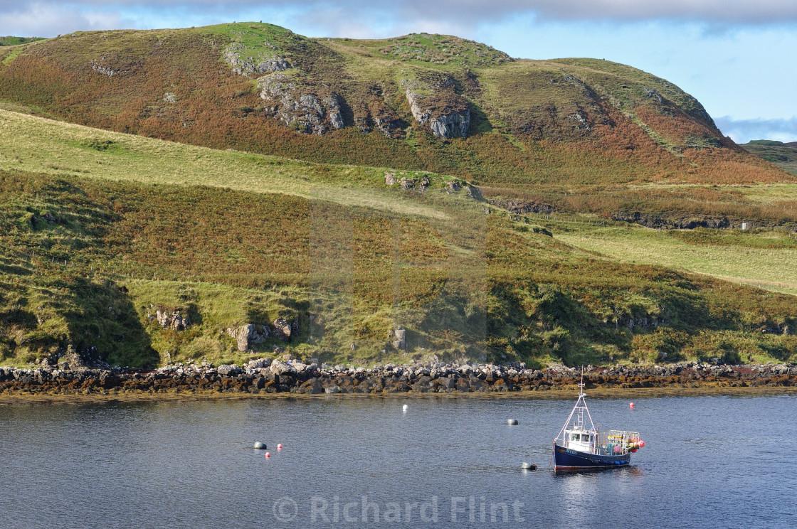 """Moored fishing boat near Struan, Isle of Skye"" stock image"