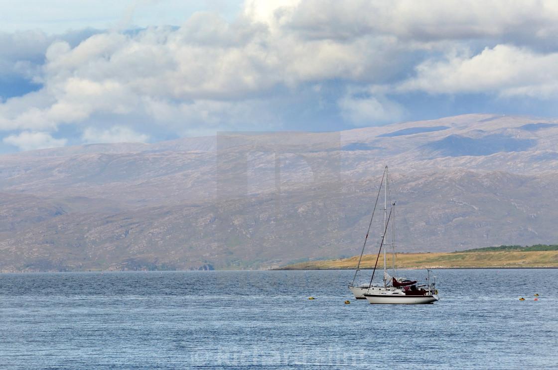 """Moored Yacht at Broadford, Isle of Skye"" stock image"