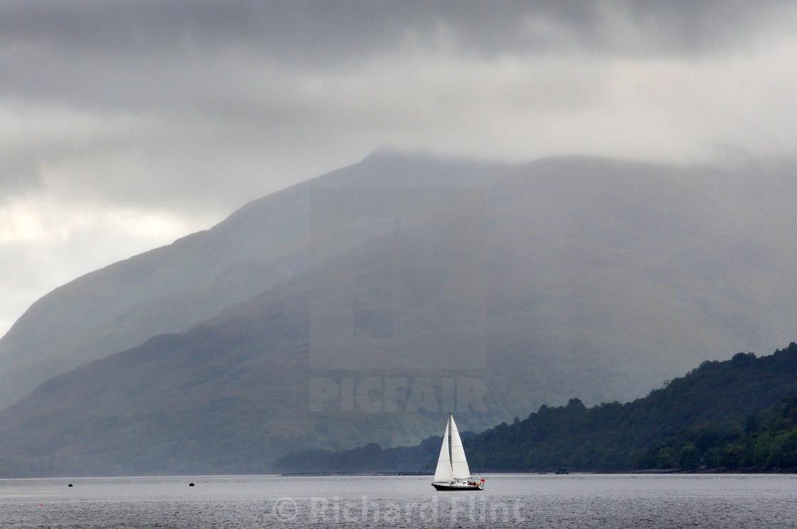"""Sailing on Loch Linnhe, Scotland"" stock image"