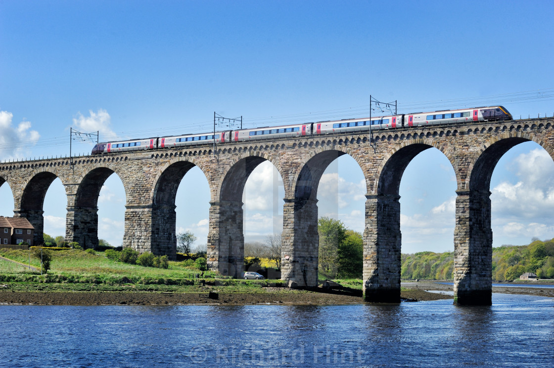 """Train crossing the River Tweed"" stock image"