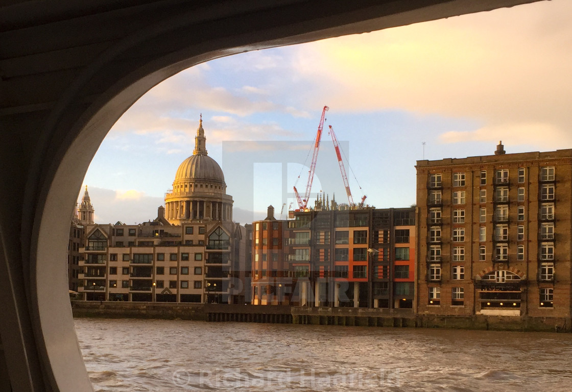 """St Pauls Cathedral from River"" stock image"
