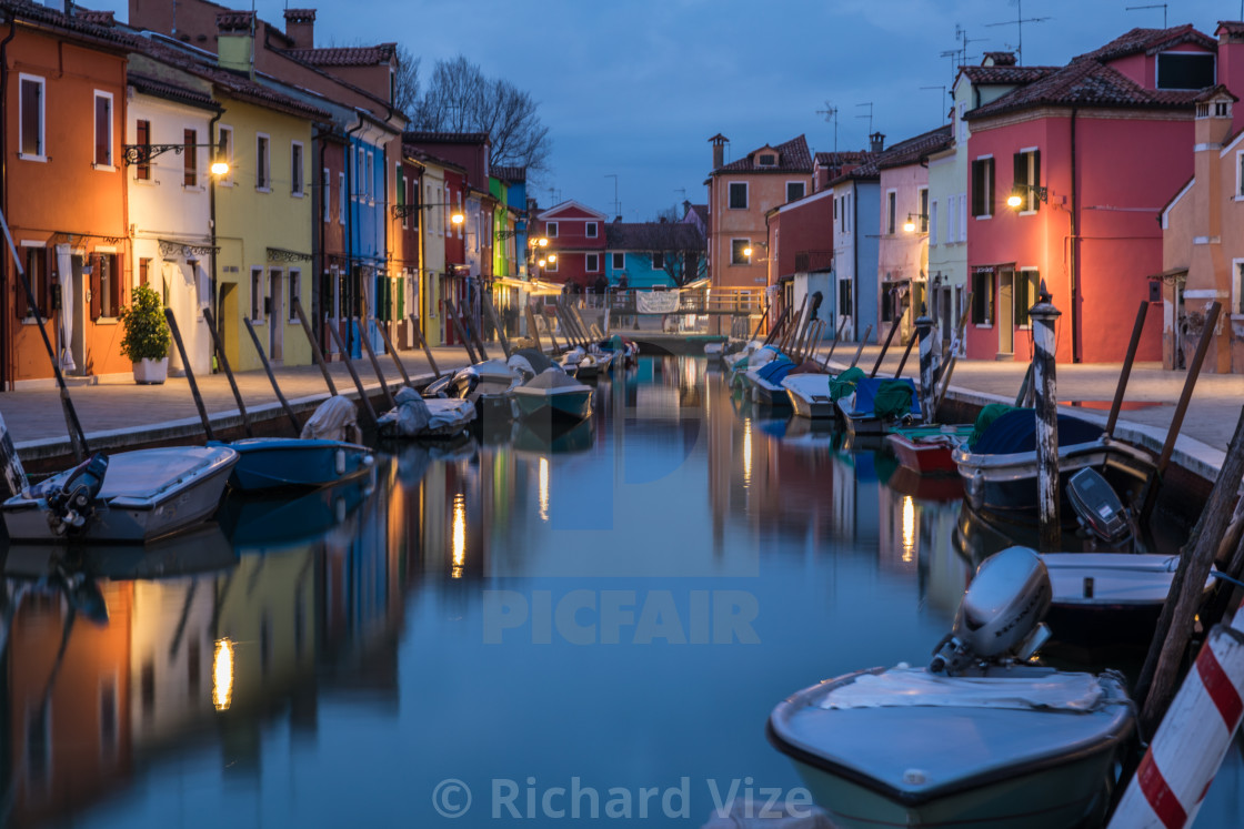 """Burano Island near Venice at dusk"" stock image"