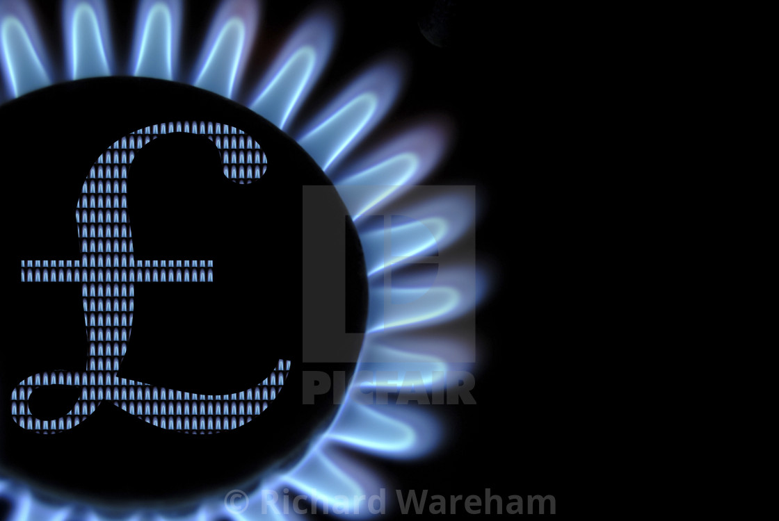 Gas Hob Flames With Uk Pounds Currency Symbol Concept Household